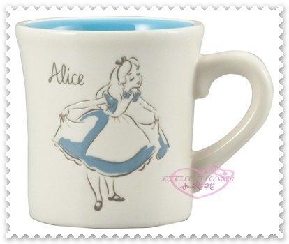 小花花日本精品Alice愛麗絲夢遊仙境背影水藍色日本製馬克杯陶瓷杯250cc 11276005