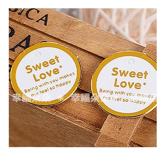 幸福朵朵*【金色圓型Sweet Love文字小吊牌】婚禮小物.裝飾吊牌.包裝材料用品