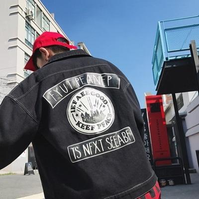 牛仔外套-翻領韓版時尚潮流印花男丹寧夾克2色73pc37巴黎精品