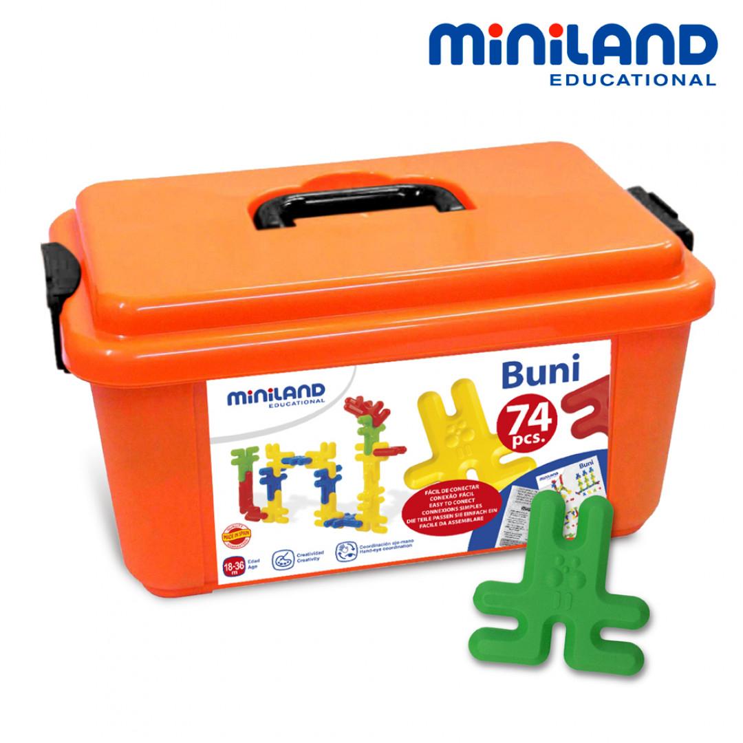 西班牙Miniland小兔建構大積木74件組含手提箱