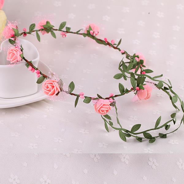 花環發頭飾景區海邊森女新娘發簪飾品綠葉藤條花環廠家 8朵花─預購CH1658