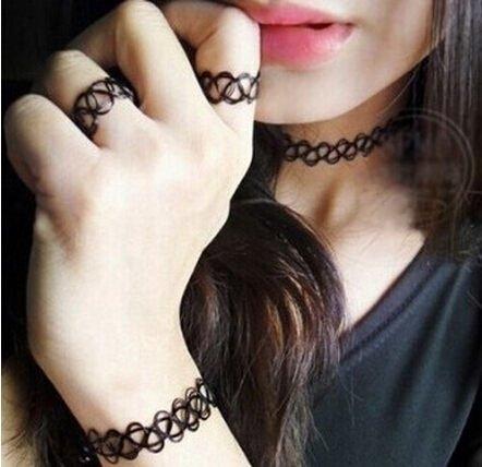 編織魚線刺青 戒指項鍊手鍊(腳鍊) 三件組合