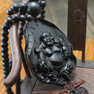 精美黑檀烏木雕刻汽車掛飾荷葉彌勒佛