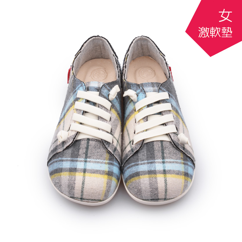 A MOUR經典手工鞋格紋饅頭米灰格氣墊鞋平底嚴選亞麻布超軟饅頭鞋DH-2720