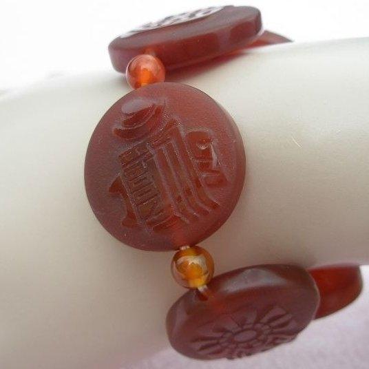 歡喜心珠寶西藏八吉祥招財咒天珠手鍊藏傳佛教七寶之一紅玉髓專櫃出清超低價299元