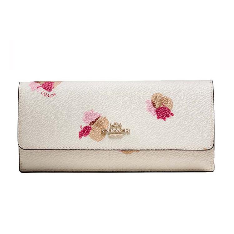 COACH 53751新款花卉印花塗層帆布女士錢包