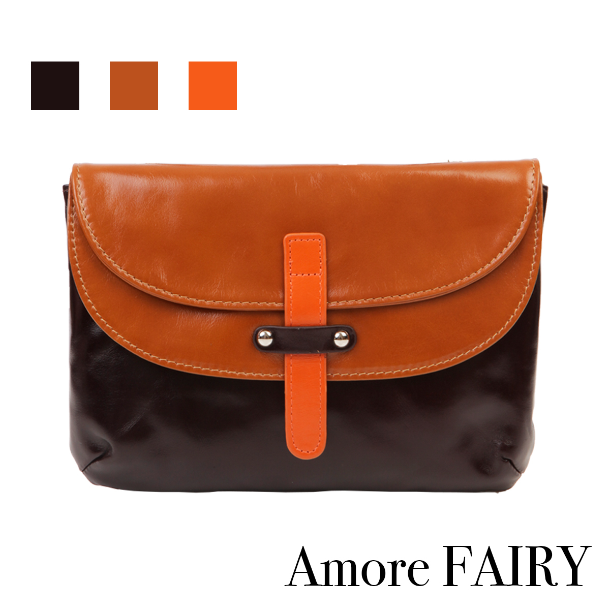 Amore 油皮雙層菲比7吋隨身包-咖啡/駝