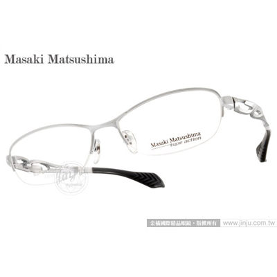Masaki Matsushima光學眼鏡MFS105 C04白-銀超塑性時尚鈦金屬系列平光鏡框金橘眼鏡