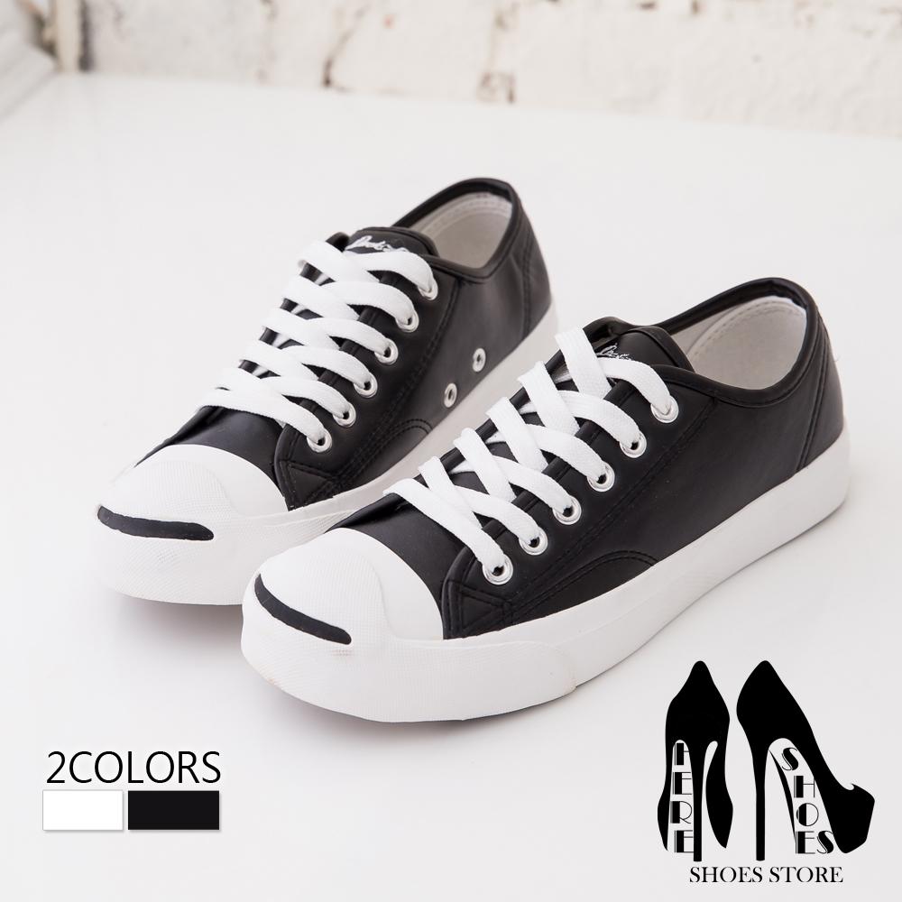 [Here Shoes]2色 男款 經典開口笑嚴選皮革質感 基本款風格百搭 休閒鞋 帆布鞋 情侶鞋─KP6601
