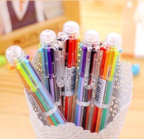 [Mini style] 日韓 多功能 6色 多色 彩色 按壓 原子筆 圓珠筆 創意 文具 可愛 卡通 個性