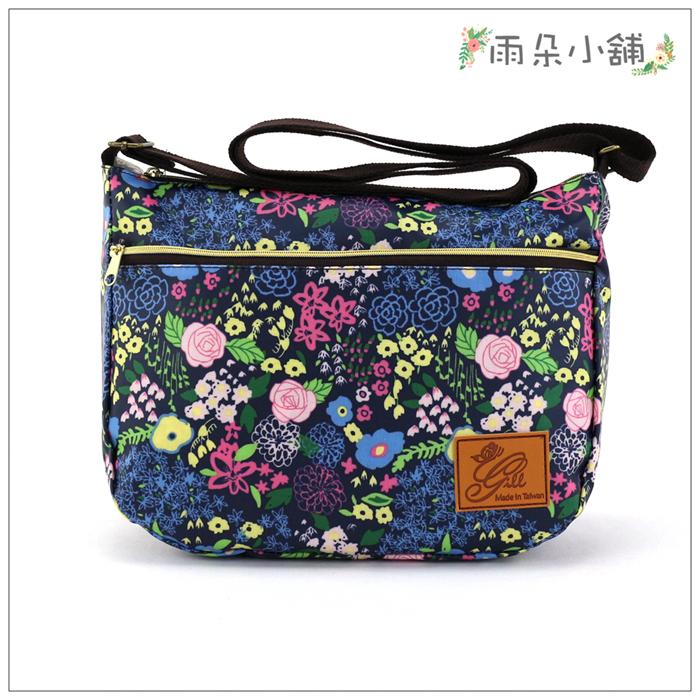 側背包包包防水包雨朵小舖M367-026花漾雙拉側背包-黑絢爛的花14212 funbaobao