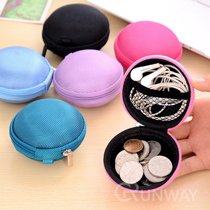 創意多功能 圓形 零錢包 耳機收納包 小配件包 數據線包 電池包 光滑面/織面 兩種材質