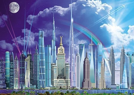【拼圖總動員 PUZZLE STORY】世界的摩天大樓 西班牙/Educa/旅行/1000P