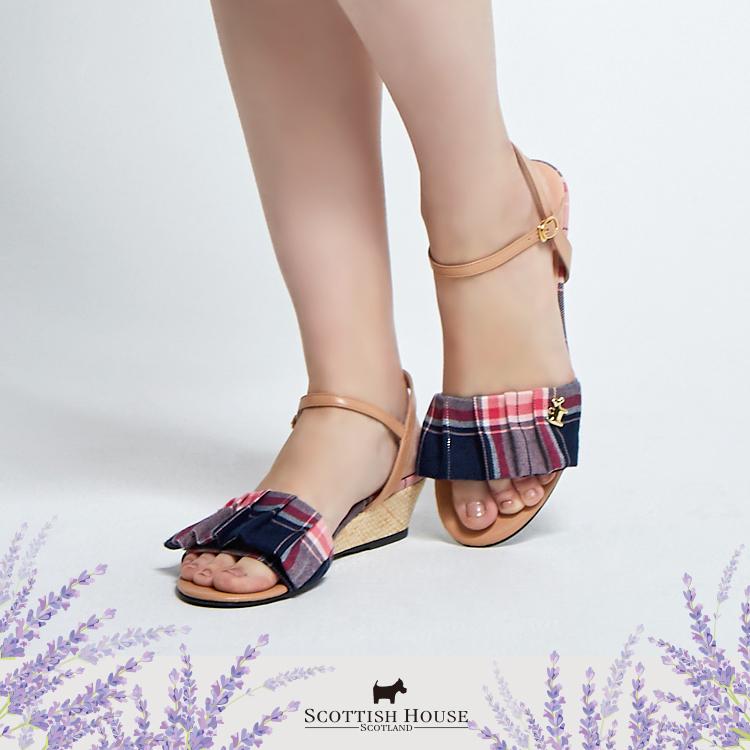 荷葉格紋涼鞋 Scottish House【AI4601】