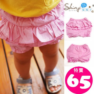 DP003 shiny藍格子-女童寶寶花邊燈籠短褲