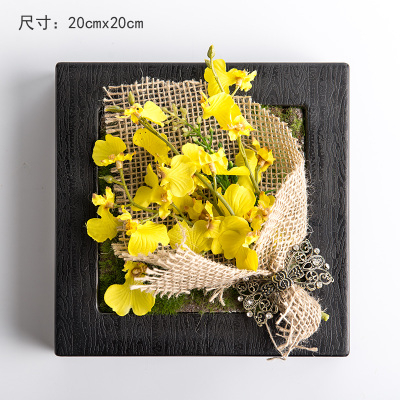 模擬花假花掛牆壁裝飾花 相框植物壁飾 多肉套裝花藝壁掛   -bri010014