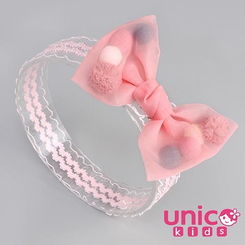 UNICO 兒童 夢幻公主雪紡蕾絲髮帶/髮飾-粉紅色