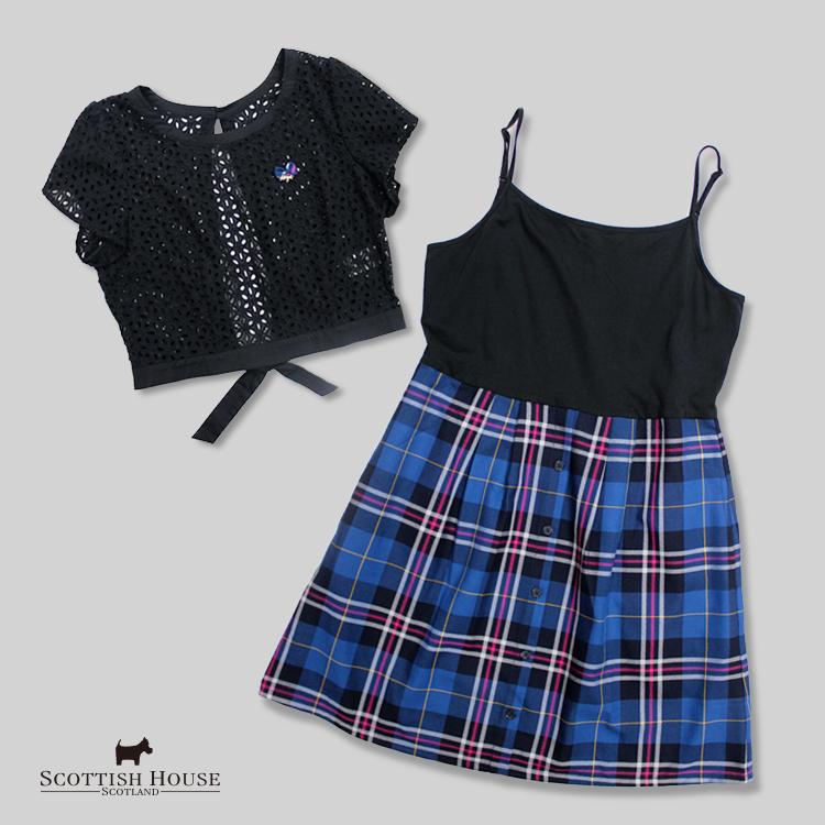 格紋背心洋裝+蕾絲繡花上衣 2件式 Scottish House【AH3106】