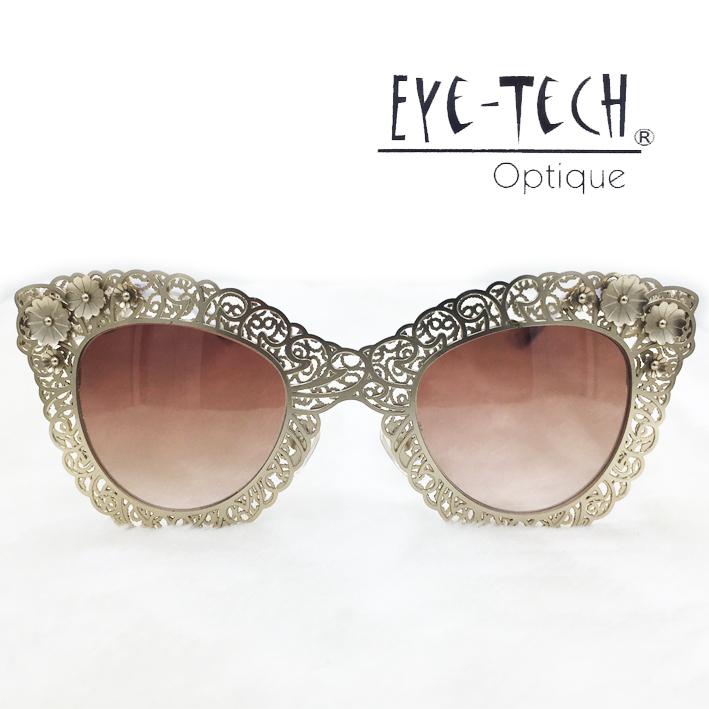 橘子樹眼鏡Eye Tech鏤空花紋立體花太陽眼鏡獨家限量ET3269霧金抗UV太陽眼鏡日本製