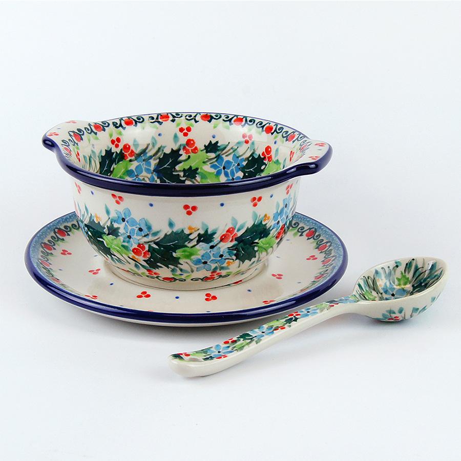 【手工波蘭陶 CA大廠】波蘭陶 碗 甜品碗+底碟+匙組 344U4839 ( 930) 花環
