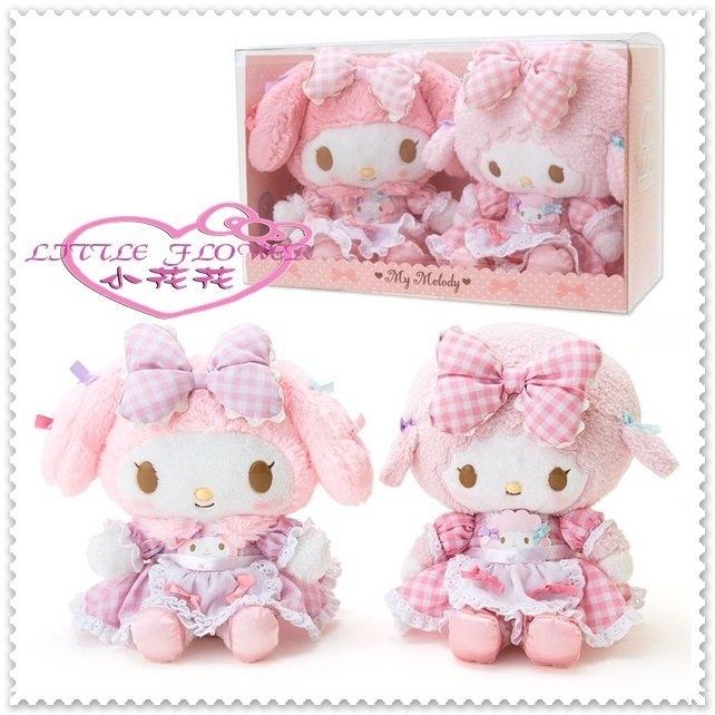 小花花日本精品Hello Kitty美樂蒂娃娃玩偶絨毛玩偶組粉女僕格紋蕾絲洋裝綿羊50078004