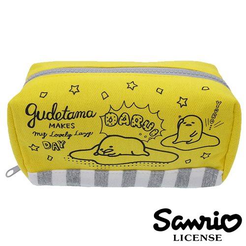 日本正版蛋黃哥gudetama棉質大筆袋鉛筆盒筆袋化妝包三麗鷗Sanrio 424909