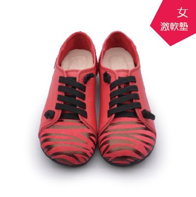 A MOUR經典手工鞋斑馬紋饅頭紅斑馬氣墊鞋平底進口小牛皮超軟饅頭鞋DH-2811