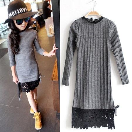 *╮S13小衣衫╭*美型高雅黑色蕾絲裙襬長袖洋裝  1041117