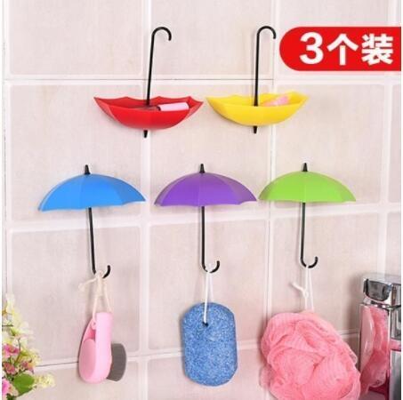 【居家收納】【Ministyle】居家布置!繽紛雨傘牆壁掛鉤支架/擺飾/掛勾(3入)