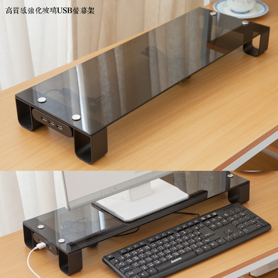 JL精品工坊高質感強化玻璃usb螢幕架限時990螢幕架書桌電腦桌桌上架桌鏡主機