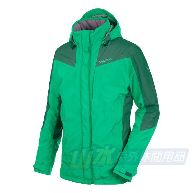 山水網路商城女款SALEWA頂級GORE-TEX防水透氣兩件式纖維保暖外套25010瑪瑙綠祖母綠