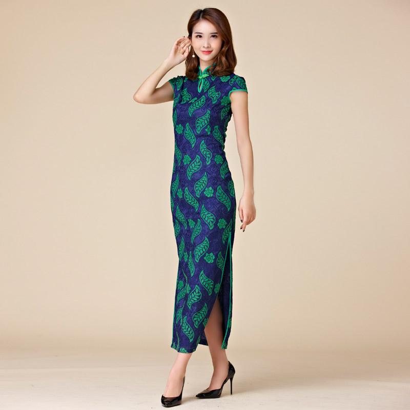 中大尺碼*印花蕾絲復古中國風立領短袖旗袍唐裝長禮服~美之札