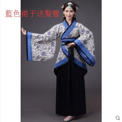 熊孩子新款古裝青花瓷漢服女裝寫真服飾曲裾改良襦裙仙主图款