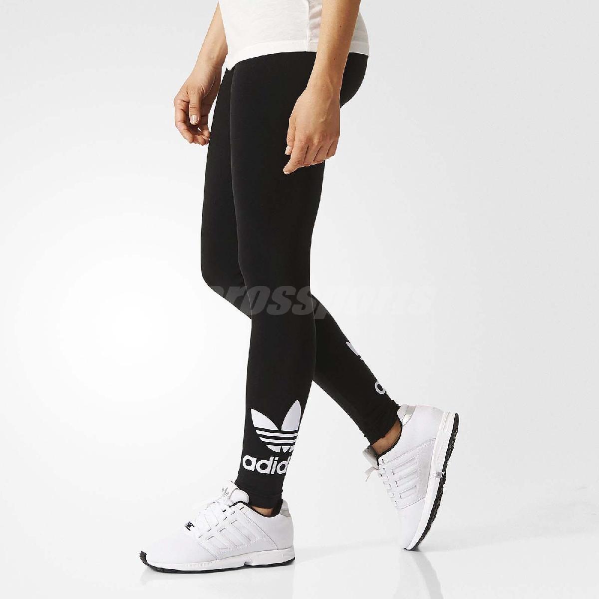 adidas 緊身褲 ORIGINALS TRF Leggings 長褲 內搭 女款 三葉草 復古 素面 運動 黑白 黑 白 【PUMP306】 AJ8153