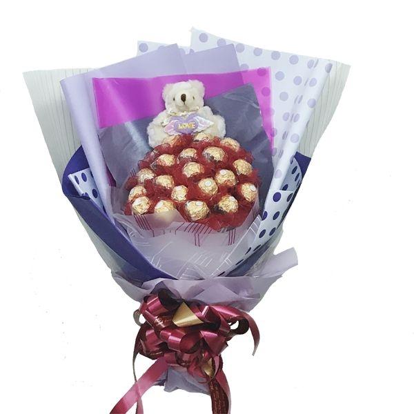 娃娃屋樂園~我永遠愛你.21朵金莎巧克力花小熊-直立式花束每束1200元情人節花束