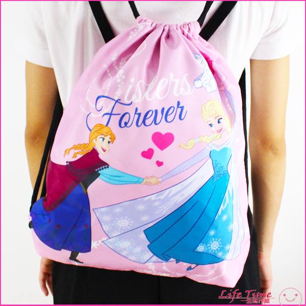 迪士尼 冰雪奇緣 正版 艾莎 卡通 街頭 校園 束口後背包 大束口袋 包包 B15061