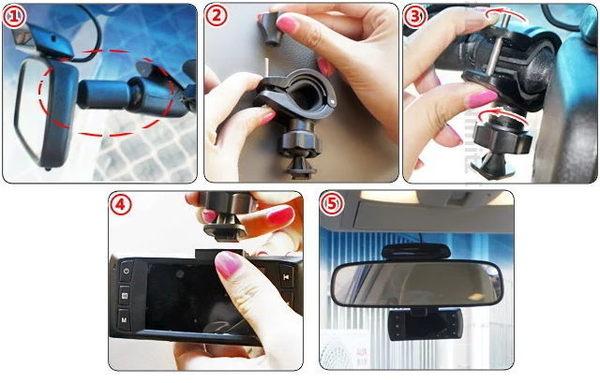 後視鏡行車記錄器車架後照鏡行車紀錄器支架:掃瞄者創見transcend drivepro 200 fhd-850 a7
