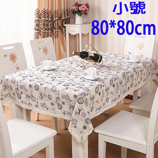 BO雜貨SV9567歐式田園布藝蕾絲花邊餐桌布純棉麻蕾絲花邊餐桌布茶几布80*80cm