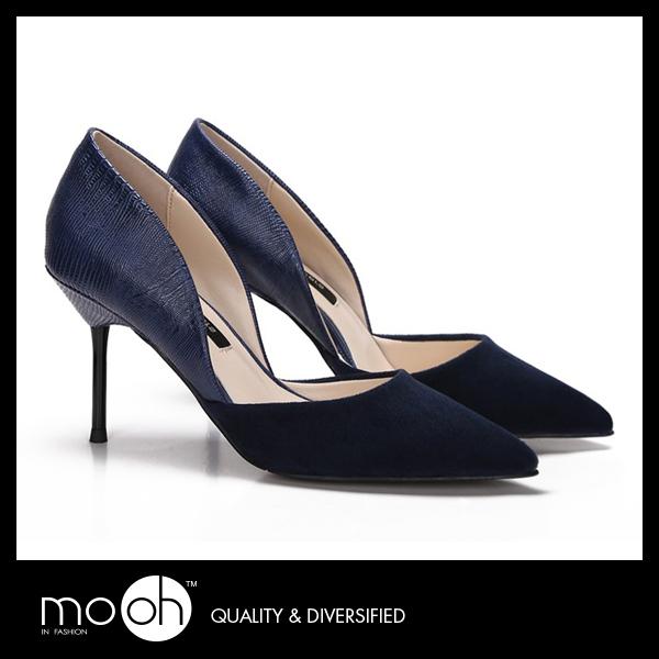 尖頭高跟鞋 細跟高跟鞋 絨面高跟鞋 時尚鏤空拚接蛇紋高跟鞋上班鞋  mo.oh (歐美鞋款)
