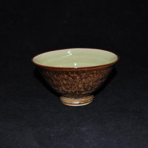 黃金綠裂紋釉/4.75寸高腳反口碗