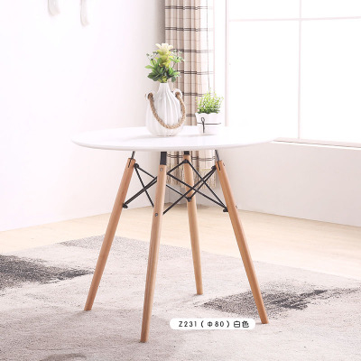 小戶型北歐實木餐桌椅組合咖啡廳桌椅伊姆斯洽談圓桌現代簡約桌子預購CH1359
