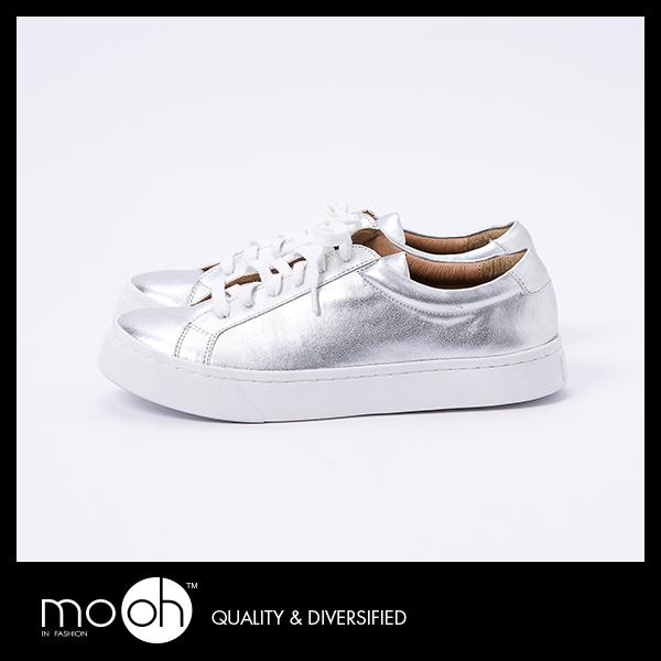 銀色休閒鞋素面綁帶金屬休閒鞋mo.oh韓國鞋款