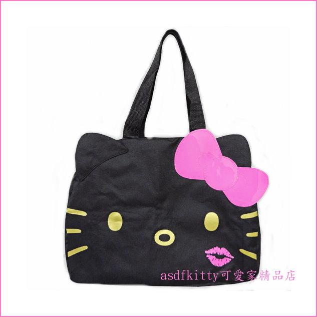 asdfkitty可愛家☆KITTY黑色行李箱拉桿手提袋/購物袋/波士頓包-可收納-日本正版商品