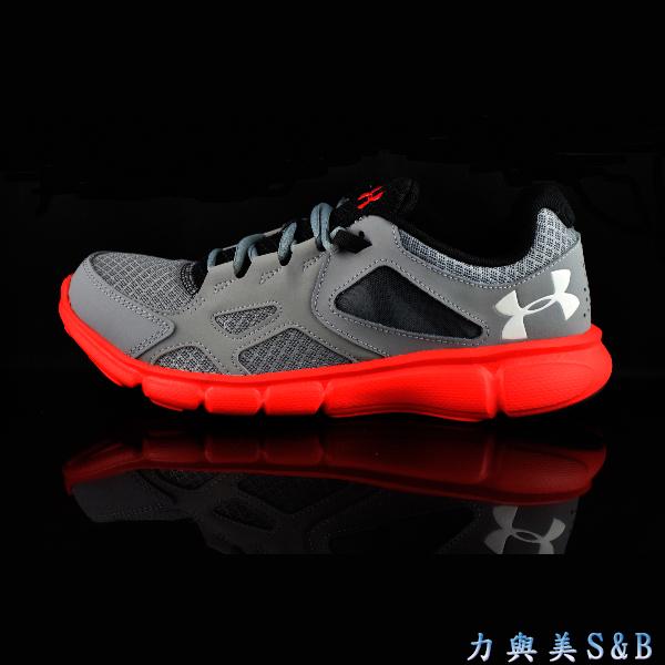 UA男慢跑鞋Thrill透氣性佳鋼鐵灰色鞋面火箭紅中底5010