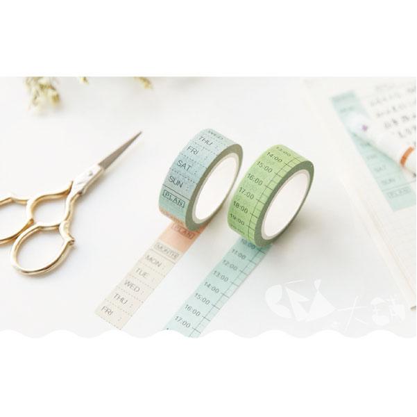 紙膠帶PVC膠帶來作計畫和紙膠帶8米長時間星期每日計畫手撕可寫裝飾手帳