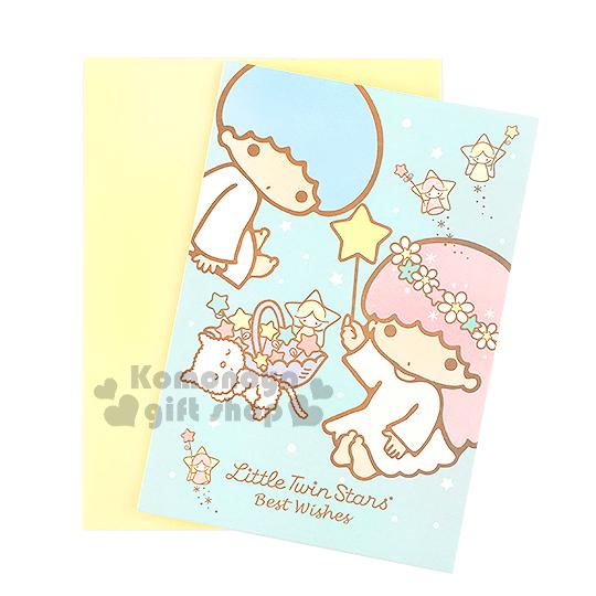 〔小禮堂〕雙子星 萬用卡片《藍.貓咪.天使.星星》附信封 4714581-22563