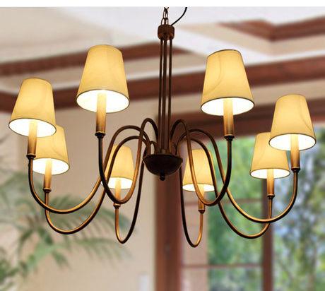設計師美術精品館歐美北歐簡約美式鄉村風格鐵藝吊燈吸吊兩用客廳燈餐廳燈臥室燈具