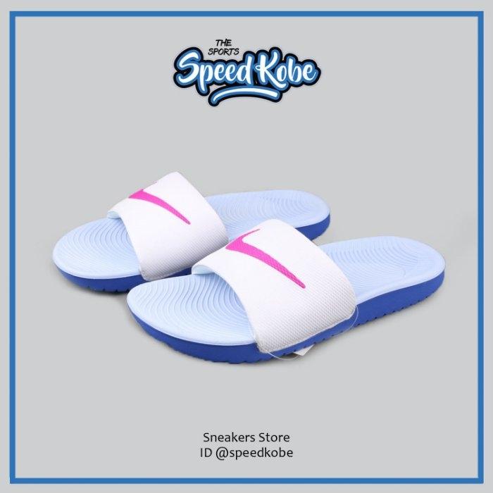 NIKE拖鞋W Kawa Slide白水藍桃勾USA限定基本女834588-101 SP
