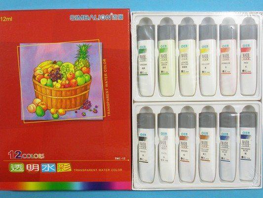 雄獅透明水彩TWC-12 12色透明水彩12ml紙盒裝一小盒入定250
