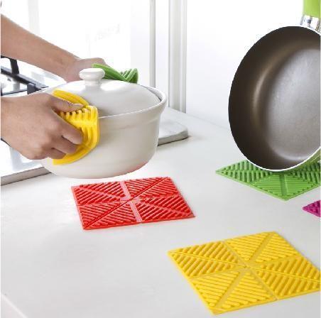 創意糖果色桌墊隔熱墊可折疊魔術加厚矽膠防滑餐墊鍋碗墊杯墊